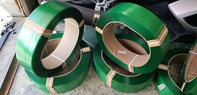 """Polyester Plastic Machine Shipping Machine Strapping - Green 3/8"""" 0.025 9600ft"""