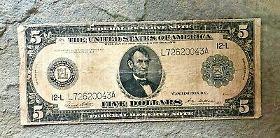 1914 $5 Boston Federal Reserve Large Us Lincoln Note