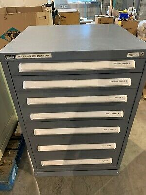 "Used Stanley Vidmar style 7 Drawer cabinet tool parts storage 44"" TALL"