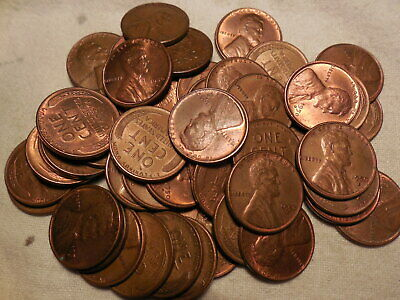 50 pcs.FULL ROLL LINCOLN WHEAT CENTS 1950-D AU/RB