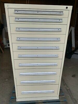 "Used Stanley Vidmar style 10 Drawer cabinet tool parts storage 59"" TALL"