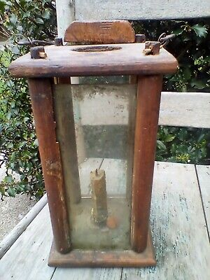 Early Primitive Wood & Glass Barn Candle Lantern Wood Pegged Antique Lighting