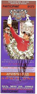 2002 HELIO CASTRONEVES signed INDIANAPOLIS 500 UNUSED TICKET 2nd WIN INDY CAR wC
