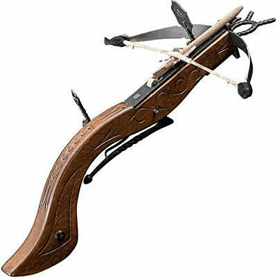 Medieval pistol crossbow made of  wood, leather and steel made in Italy