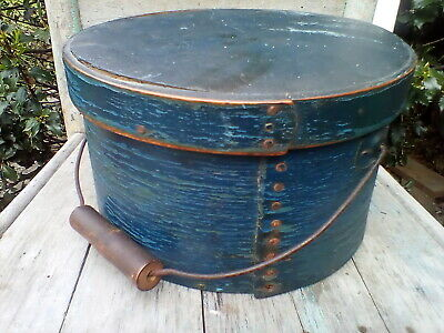 Early Primitive Wooden Pantry Box Old Blue Paint Bale Handles Square Nails