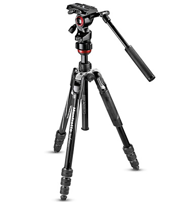 Manfrotto Travel Befree Live Aluminium Tripod Twist, Video Head, Black, Compact