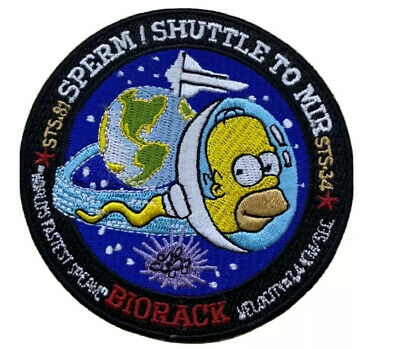 "NASA PATCH - ""SHUTTLE TO MIR HOMER SIMPSON"" STS-81/STS-84 Sperm Mission - 3.5"""