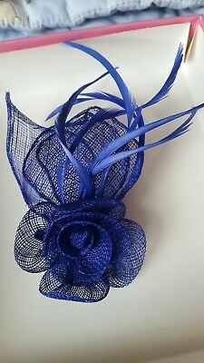 Navy Blue Feather Rose Hair Accessory Fascinator Races Wedding Occassion Clip On