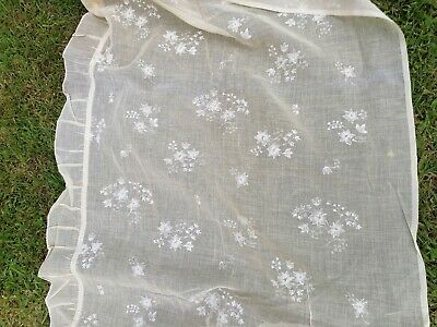 Vintage French Fabric Voile Curtains 1950s Old shop stock 2metresL x 70cmsW