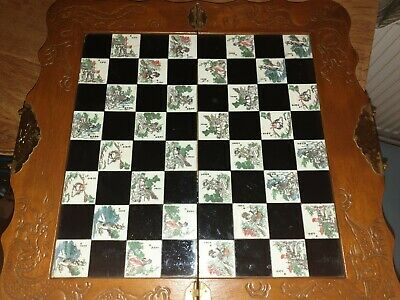 Vintage/Antique Large Wooden Carved Chinese Chess Set, VGC