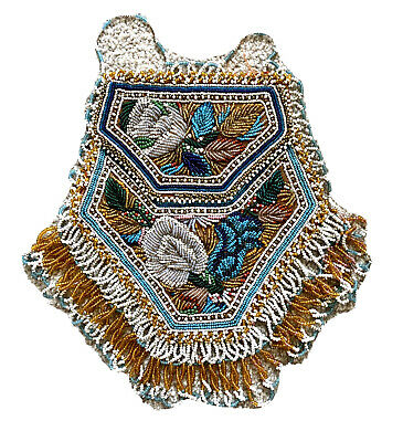 Antique native american indian embroidered floral beadwork pocket pouch Ca 1900