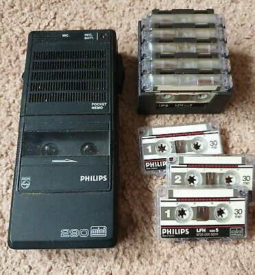 Vintage Philips 290 mini pocket battery dictaphone / voice recorder & 8 tapes