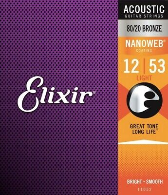 Elixir 11052 Coated Acoustic Guitar Strings 12-53 Light