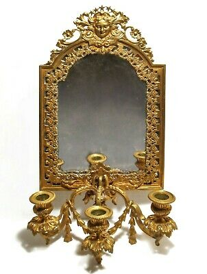 Antique Bradley & Hubbard Ornate Figurative Brass Wall Sconce, 3 Candle Mirror