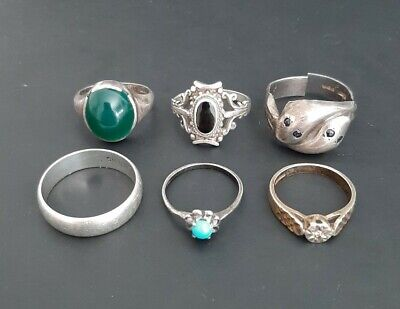 Old Antique .925 Solid Silver Hallmarked Lot of 6 Rings - 20g