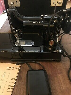 Vintage Singer RED S 222K Featherweight Free Arm Sewing Machine Fully Working