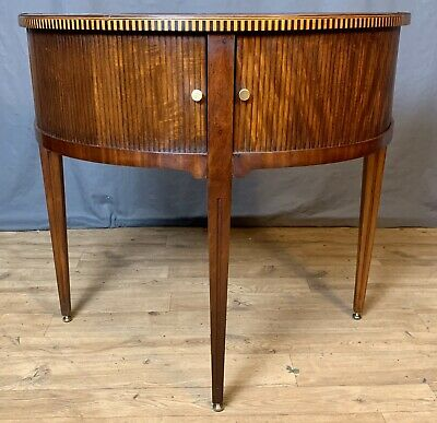 Superb Dutch inlaid flame mahogany tambour fronted Demi lune console table