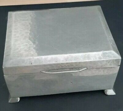 Antique Liberty & Co. Tudric Pewter Hammered Cedar Lined Box - No 01366 - c.1900
