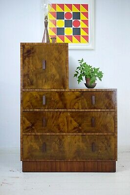 Vintage Modernist Art Deco Walnut Burr Stepped Heavy Chest of Drawers Cabinet
