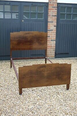 Vintage Modernist Art Deco Walnut Burr Bed Frame Headboard Footboard