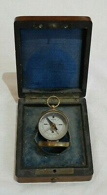 Antique Miniature Compass in Wood Box
