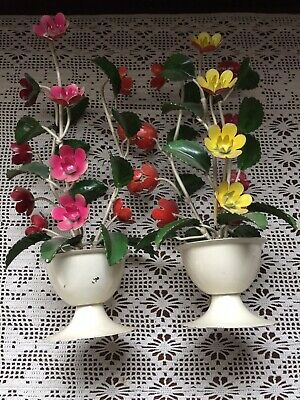 Vtg Italian Tole Pair of Floral Plant Sculpture Painted Metal w Metal Italy Tags