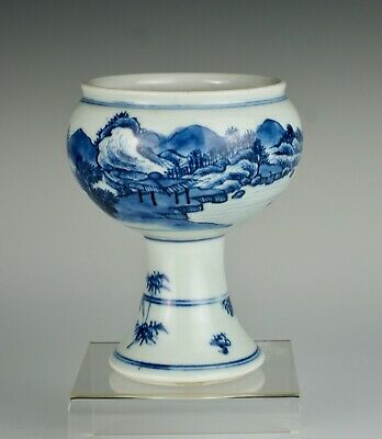 Fine Kangxi ~1700, blue and white Chinese porcelain stem cup with landscape