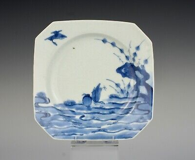 A good, late 17th C, Arita Japanese porcelain square dish with geese