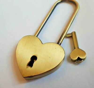 Large Antique Brass Love Heart Metal Padlock Long shackle Lock with Key/ Marks