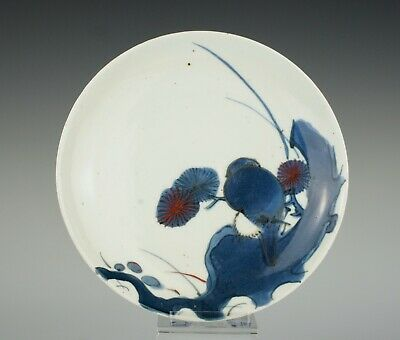 A good, early Japanese, Arita porcelain, Ai-Kutani dish, ~1660, with bird