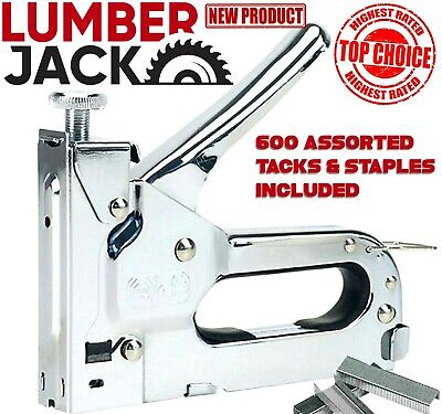 Heavy Duty Staple Gun & Tacker with 600 Assorted Tacks & Staples 4 - 14mm