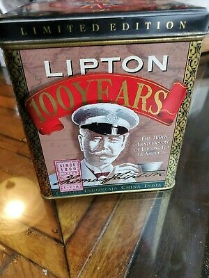 Vintage Limited Edition 1990 Lipton Tea 100th Anniversary Square Tin Container