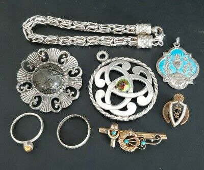 Old Antique Jewellery Lot Inc Bracelets, Brooches, Rings - Silver? - 76g