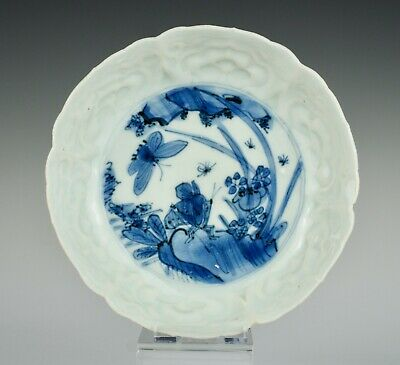 Good late Ming b&w Chinese Kraak porcelain dish, Tianqi, lovely moulding ~1620s