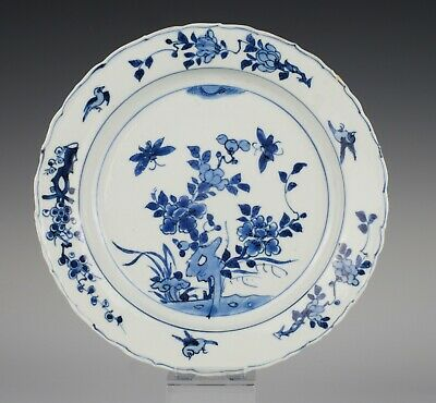 Late Ming Chinese porcelain dish, ~1600, Wanli or Tianqi, insects and birds