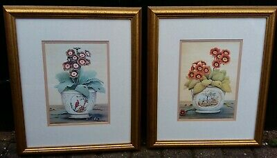 Gold Framed Prints Flowers Auricula x 2