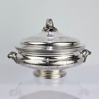 Ornate Portuguese Solid Silver Covered Tureen or Covered Vegetable Bowl - SL