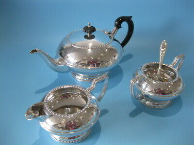 Very Nice Vintage Silver Plated Regency Style Hand-Engraved 3 Piece Tea Set