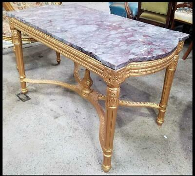 Lovely French White Marble Top Coffee Table On A Carved Gold Wooden Base