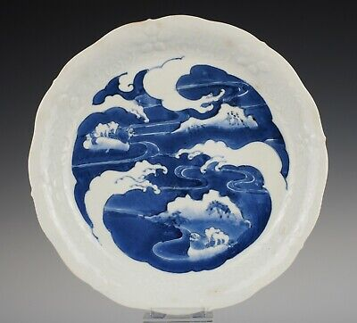Rare, Ai Kutani, early Arita moulded dish ~1650-1660, mandarin ducks in waves