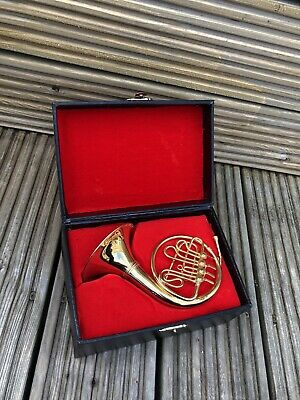 Miniature Ornamental French Horn / BRASS Lacquer Finish With Velvet Interior