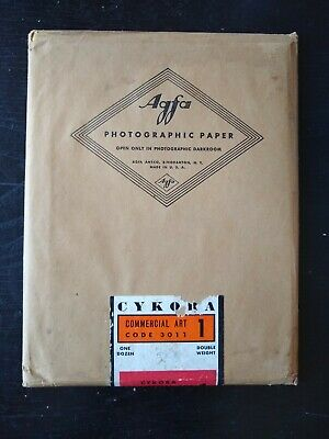 EXPIRED IN 1943 Agfa Cykora 5x7 Fiber Photo Paper 12-pack Commercial Art #1-Soft