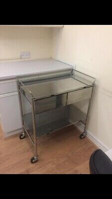 NHS Grade Stainless Steel Surgical Medical 2 Tier Wheeled Trolley Cart