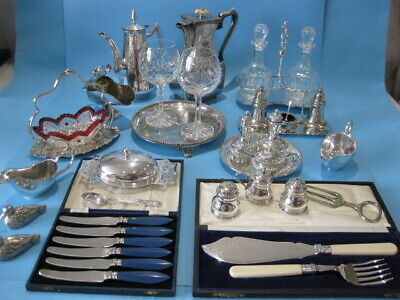 Very Lovely Large Job Lot Ornate Antique & Vintage Silver Plated Items & Cutlery
