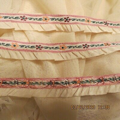 Vintage Ruffle Rayon Ribbon Jacquard Flower Lovely Antique  Doll Dres Trim # Tm