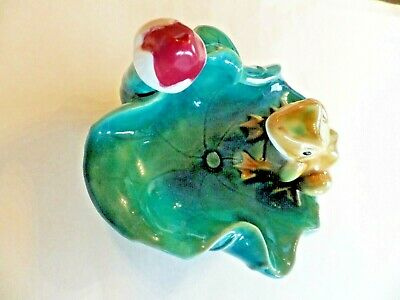 """Ceramic Frog Sitting on Edge of a 6 1/2"""" Lily Pad  (possible small bird feeder)"""