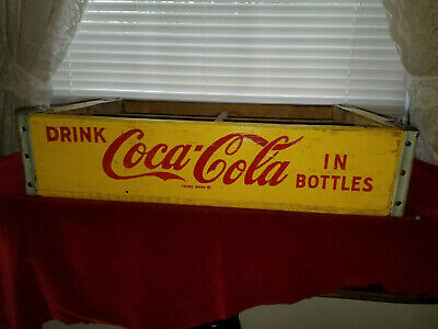 "VINTAGE Coca Cola YELLOW Wooden Coke case / crate VERY GOOD CONDITION 18""X12""X4"""