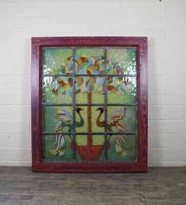 Vintage Framed Hand Painted Leaded Glass Panel With Peacock & Floral Design