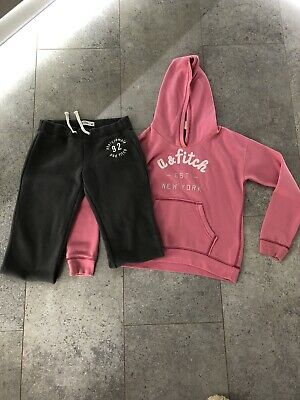 Girls L Abercrombie & Fitch Pink Hoodie And Grey Joggers
