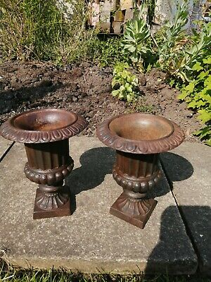 Pair of Cast Iron Garden Urns small